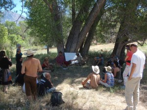 Permaculture Group meeting outside Crawford Colorado with Wind Clearwater and Aaron Jerad