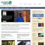 A screenshot of the Alliance Earth.org Website
