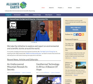 A screenshot of the Alliance Earth.org Website