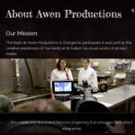Awen Productions website snapshot. Design By Aaron Jerad