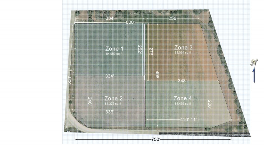A large field divided into irrigation zones.