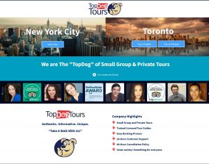 Top Dog Tours - Website Screenshot