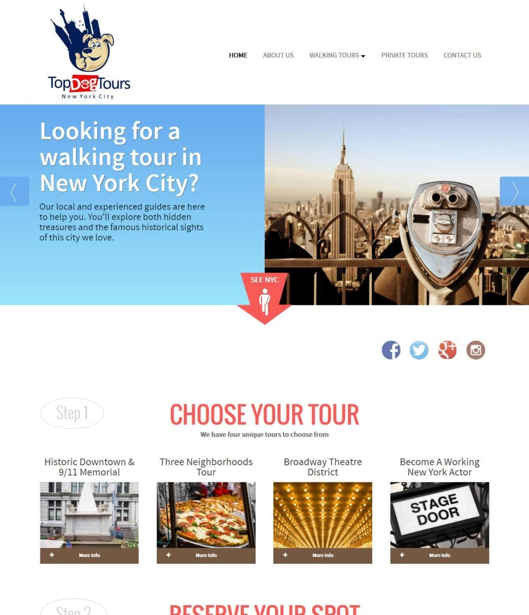 Top Dog Tours NYC Website