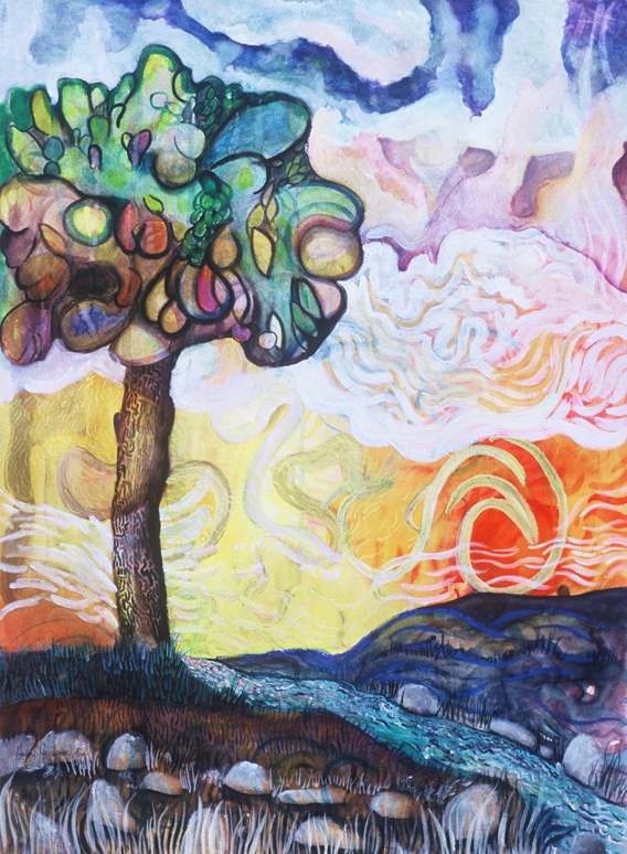 Tree Scape III - Watercolora and Acrylic by Aaron Jerad
