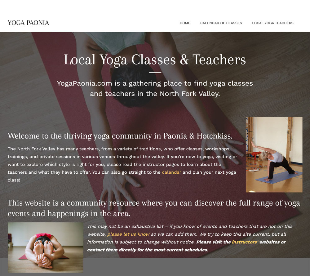 Yoga Paonia Website