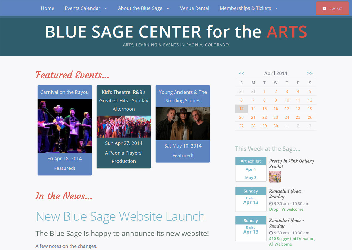 Blue Sage Center for the Arts Website