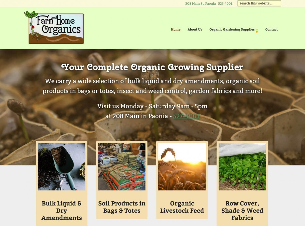Farm and Home Organics Website