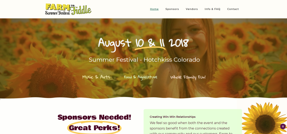 Farm to Fiddle Website, Hotchkiss