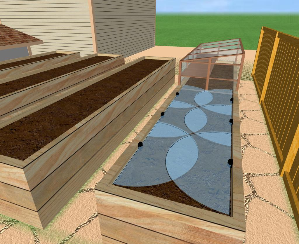 Raised Bed Garden Design Concept With Cold Frame And Irrigation