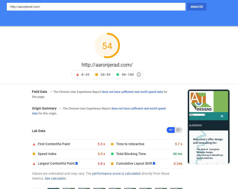 Litespeed server page speed score