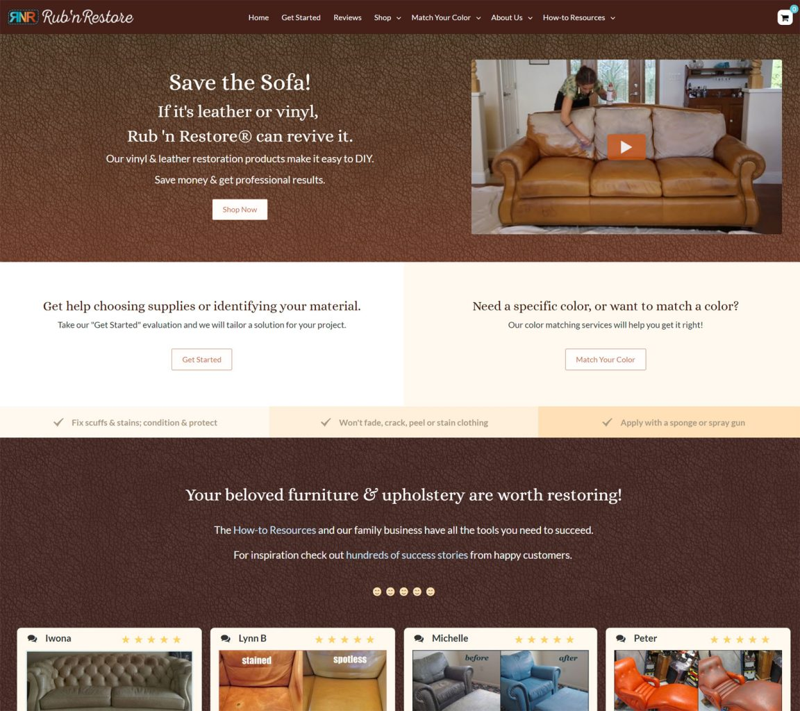 Rub 'n Restore Website Redesign