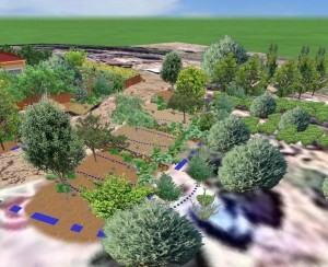 Here is another 3d overview of the small terraced orchard.